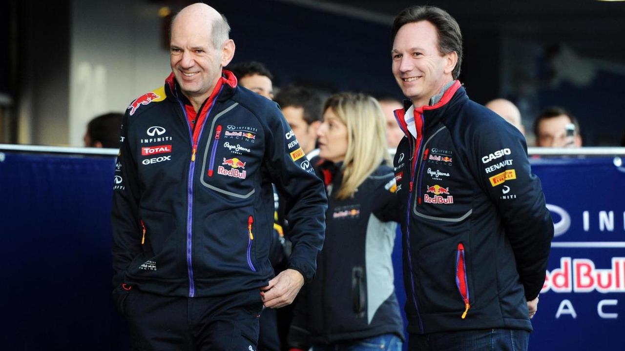 Adrian Newey and Christian Horner 28.01.2014 Formula One Testing Jerez Spain