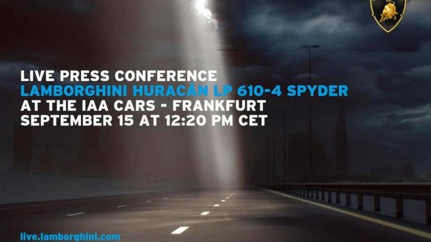 Lamborghini Huracan Spyder teased ahead of 2015 IAA debut