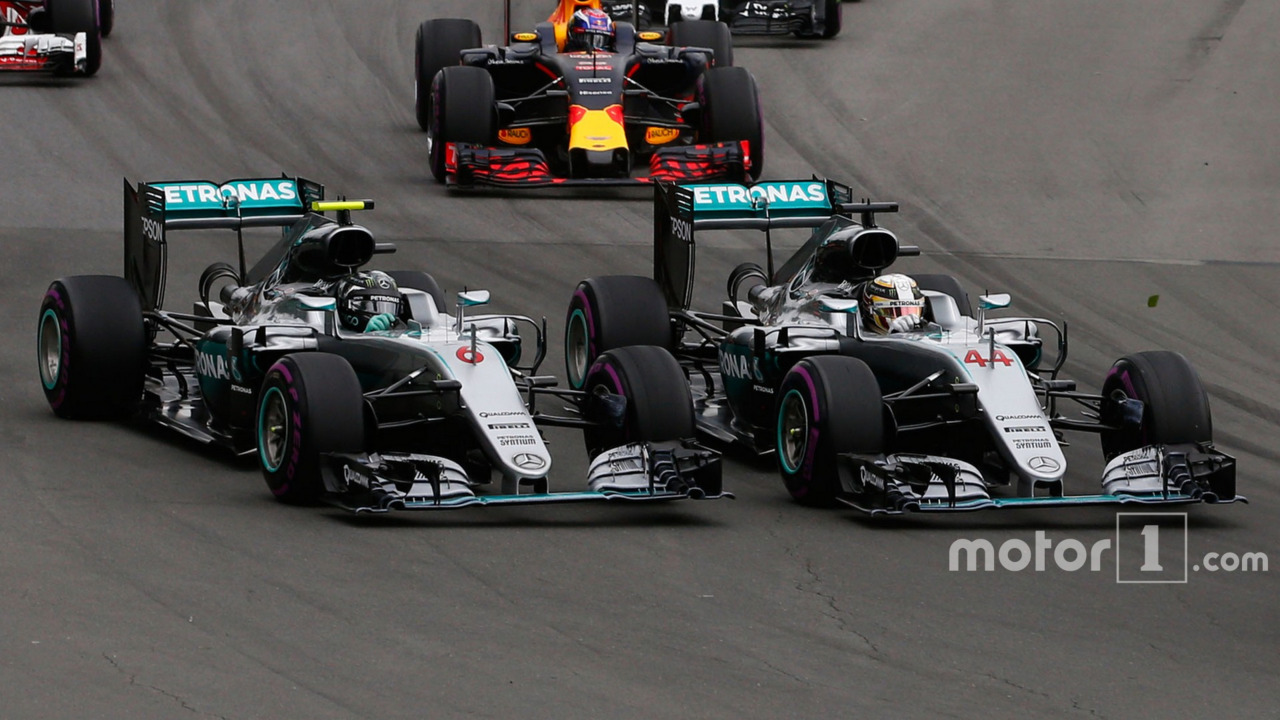 Lewis Hamilton and team mate Nico Rosberg