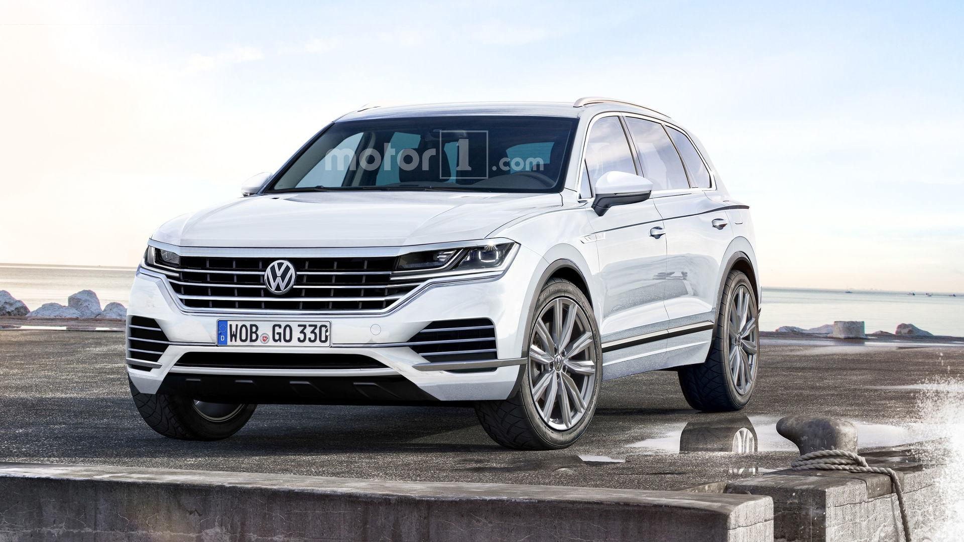 2018 vw touareg rendered with more upscale cues. Black Bedroom Furniture Sets. Home Design Ideas