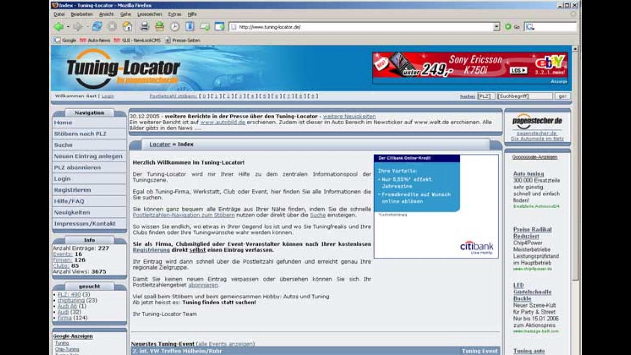Neu im Internet: Tuning-Locator