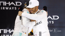 Abu Dhabi GP, race winner Lewis Hamilton celebrates on the podium