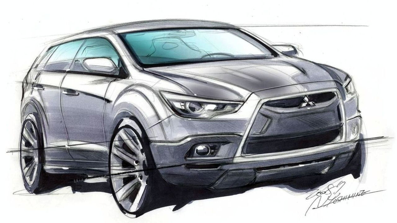 Mitsubishi pre-production Compact Crossover teaser design sketch based on 2007 Concept-cX concept