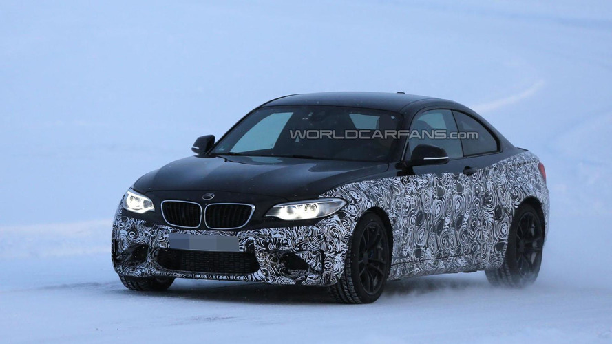 2016 BMW M2 spied wearing a production front bumper