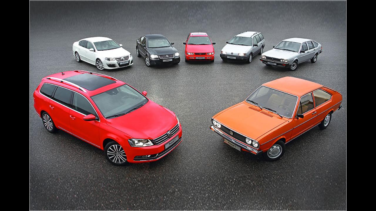 Sieben Generationen VW Passat