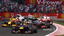 Mark Webber, Red Bull Racing leads at the start