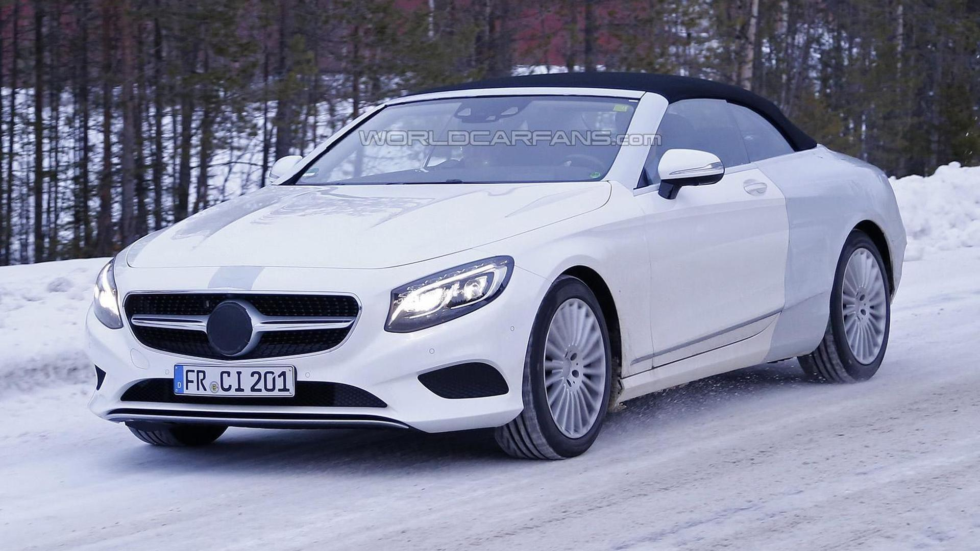 Mercedes Benz S Class Cabriolet spied thinly disguised