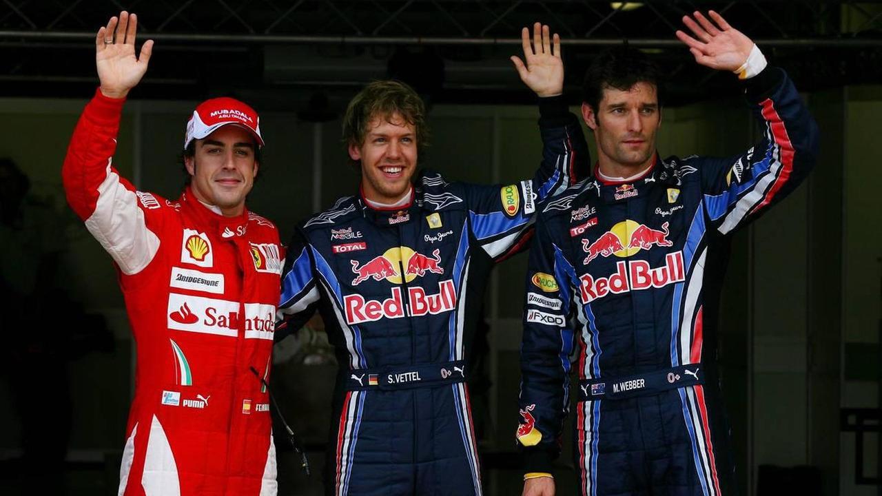 Fernando Alonso (ESP), Scuderia Ferrari, Sebastian Vettel, Red Bull racing (GER), Mark Webber (AUS), Red Bull Racing, British Grand Prix, 10.07.2010 Silverstone, England
