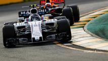 Lance Stroll, Williams FW40, leads Daniel Ricciardo, Red Bull Racing RB13