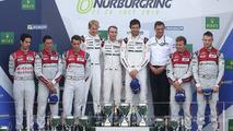 Podium: race winners Timo Bernhard, Mark Webber, Brendon Hartley