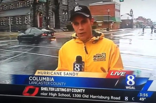 Lexus Drifts Past Reporter During Hurricane Sandy Coverage
