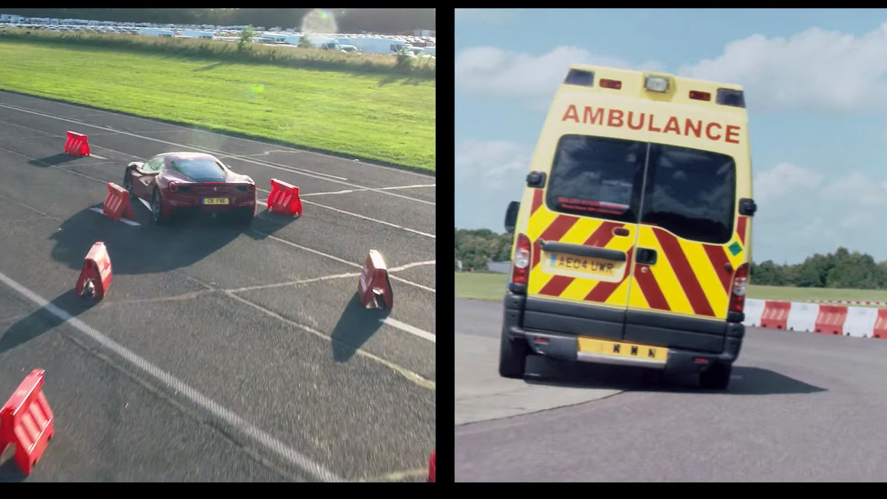 Sebastian Vettel races Ferrari against ambulance