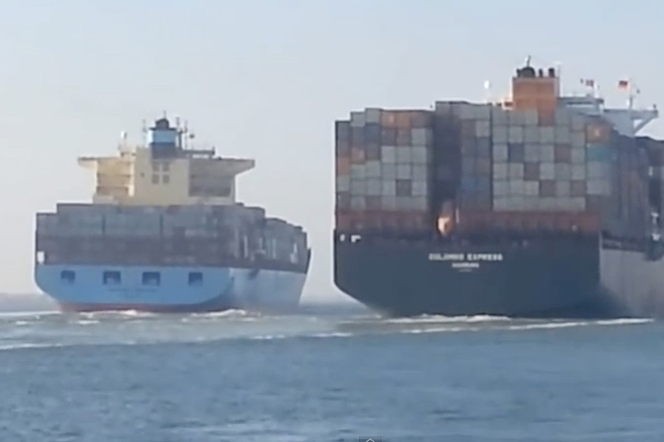 Watch Two Huge Container Ships Crash into Each Other
