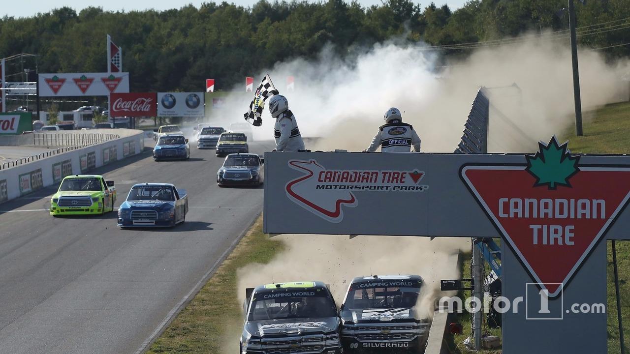The end of the race where John Hunter Nemechek, NEMCO Motorsports Chevrolet and Cole Custer, JR Motorsports Chevrolet collided
