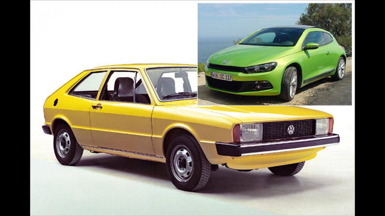 1974 schrieb der VW Scirocco in Genf Geschichte, sein Nachfolger (kleines Bild) zeigte sich 2008 in der Schweiz