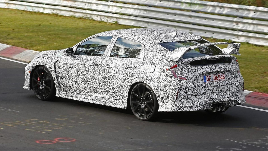 Next-gen Honda Civic Type R hatchback test mule spied with triple exhaust pipes