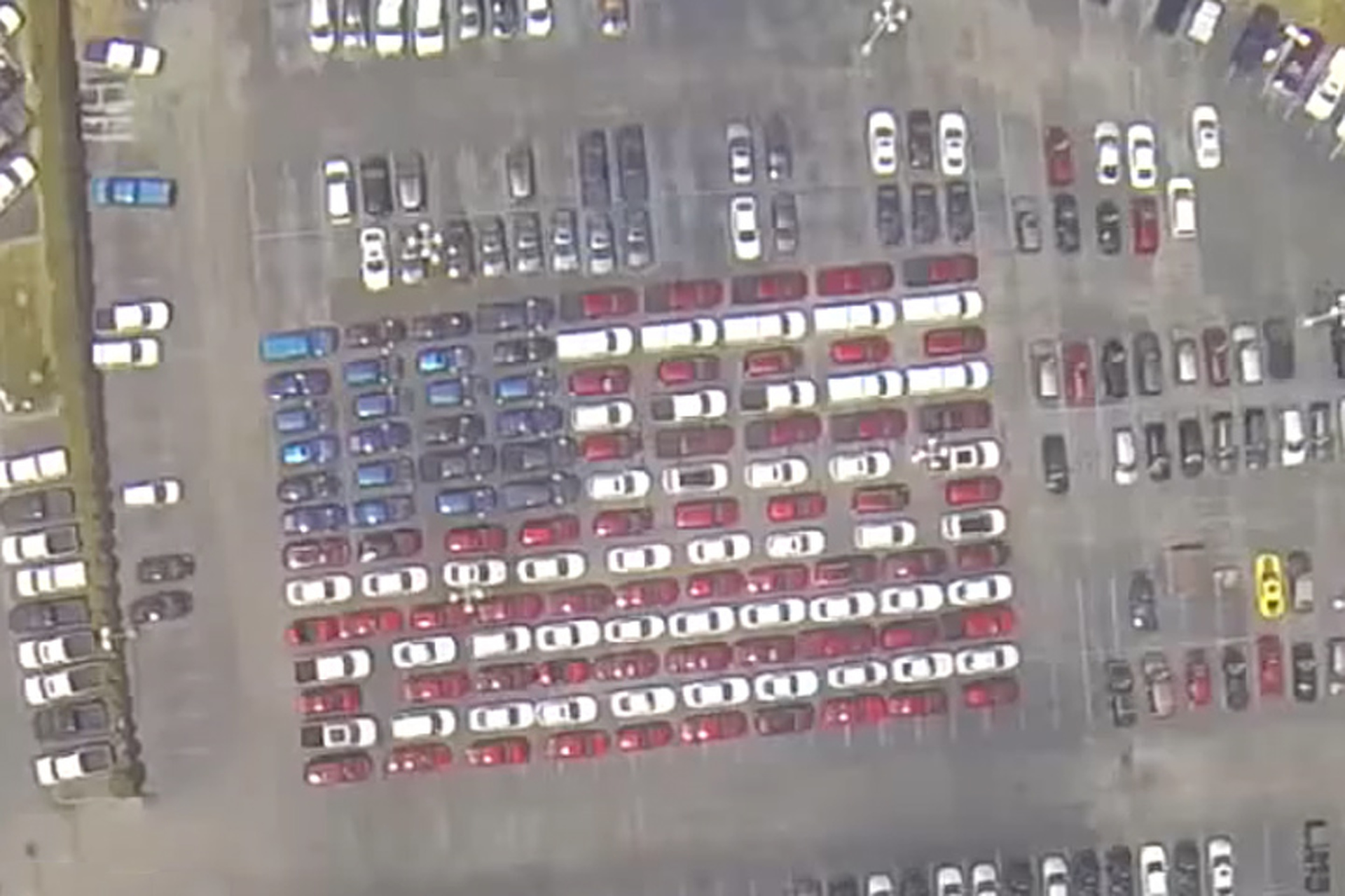 A Kentucky Dealership Created a Giant American Flag Out of New Cars