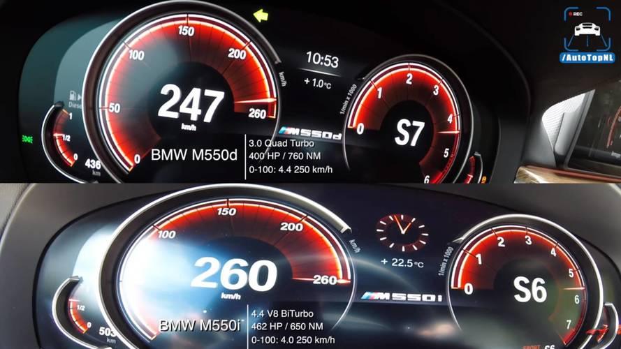 BMW M550i ve M550d'nin hızlanma yarışlarını izleyin