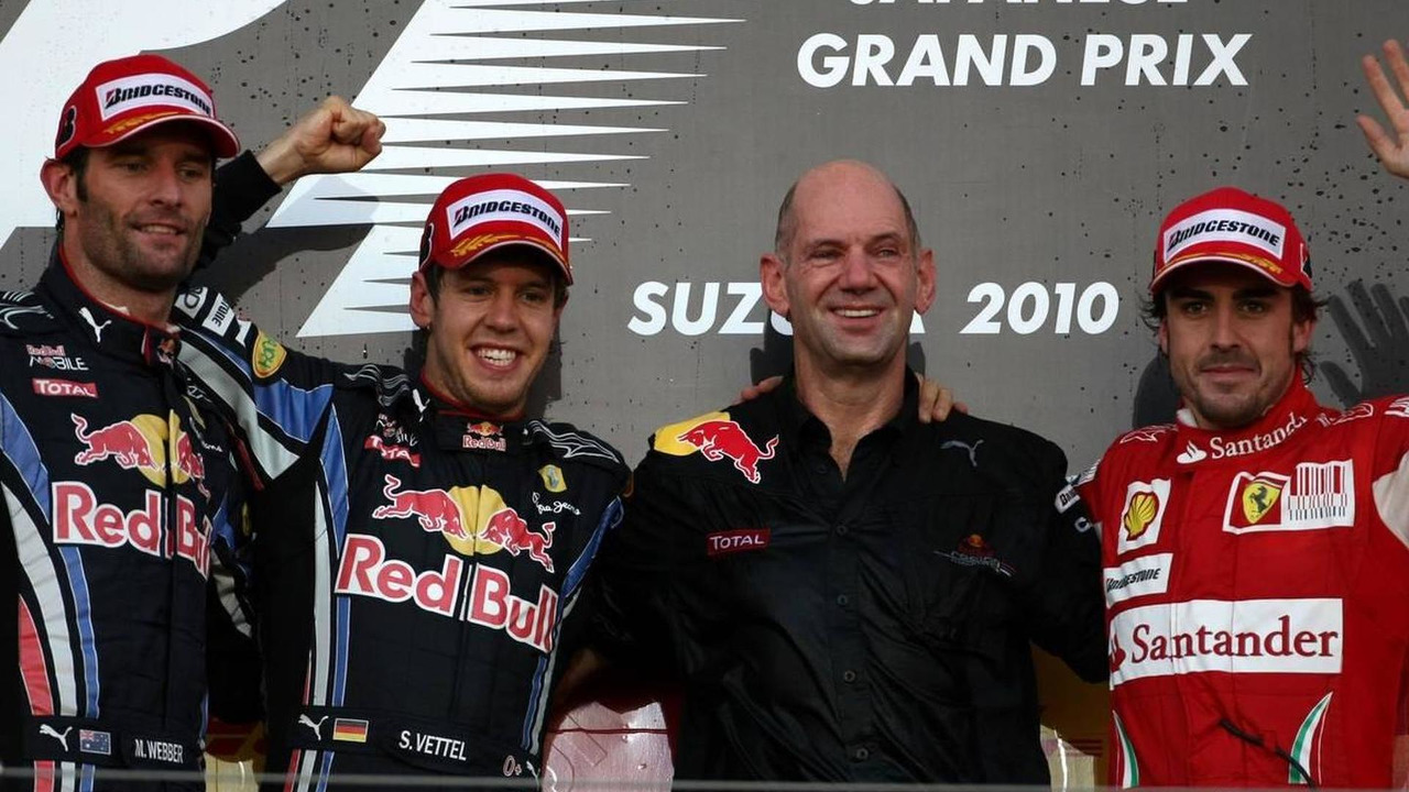 Mark Webber (AUS), Sebastian Vettel (GER), Adrian Newey (GBR), Red Bull Racing, Technical Operations Director and Fernando Alonso (ESP), Formula 1 World Championship, Rd 16, Japanese Grand Prix, 10.10.2010 Suzuka, Japan