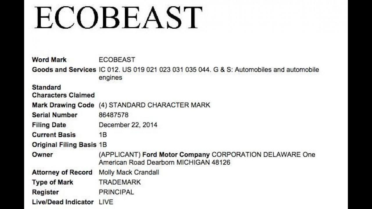 """Novo motor? Ford registra o nome """"EcoBeast"""" em escritório de patentes"""