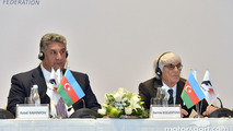 Azad Rahimov, Azerbaijan Minister of Youth and Sport, and Bernie Ecclestone, Formula One CEO