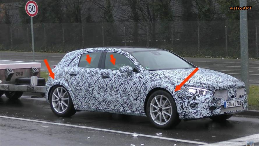 Mercedes A-Class spotted with larger wheel arches – could be GLA
