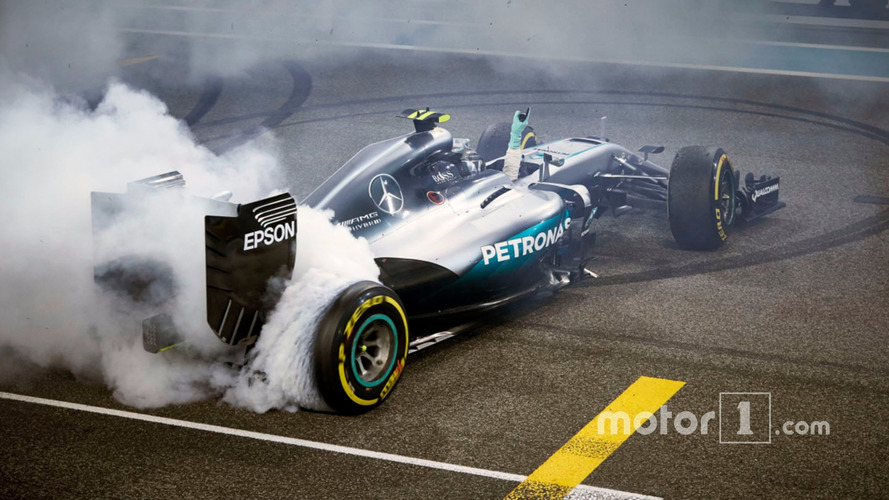 Second place Nico Rosberg, Mercedes AMG F1 W07 Hybrid celebrates his World Championship at the end of the race
