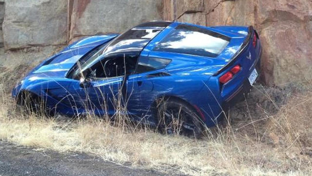 First crashed 2014 Chevrolet Corvette C7 Stingray