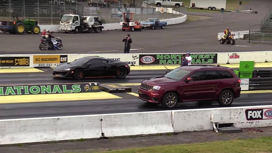 Surprise Drag Race: Jeep Grand Cherokee Trackhawk Vs McLaren 570S