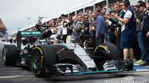 Race winner Lewis Hamilton, Mercedes AMG F1 W06 enters parc ferme