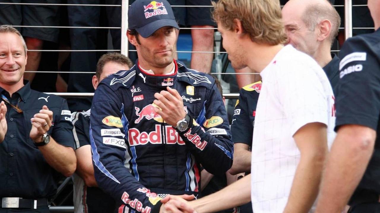 Red Bull team celebrate Mark Webbers win, Mark Webber (AUS), Red Bull Racing, Sebastian Vettel (GER), Red Bull Racing, British Grand Prix, 11.07.2010 Silverstone, England
