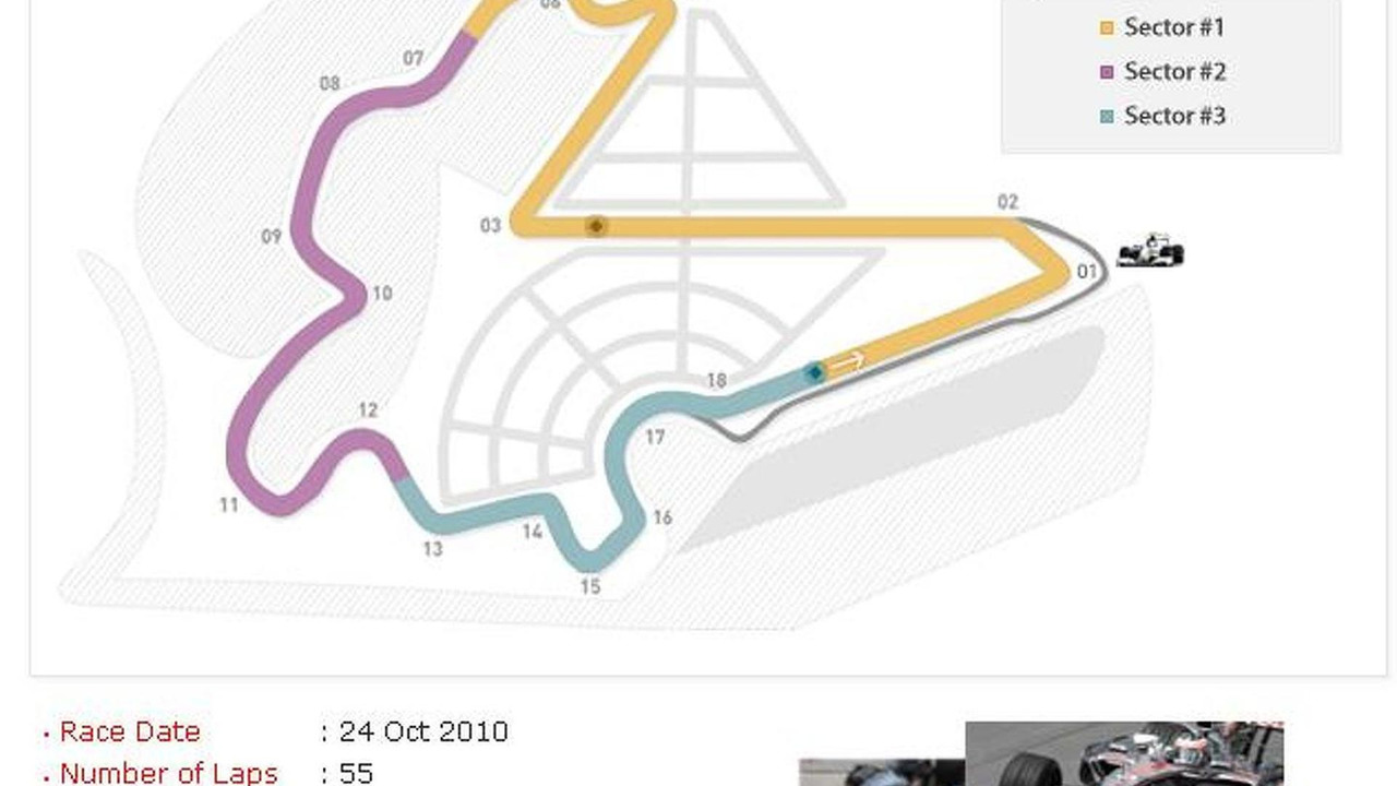 Korean International Circuit map, Korean Grand Prix, Yeongam County, South Jeolla, South Korea, 631, 12.04.2010