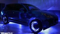 Porsche Cayenne with a blue chrome wrap by Tintek.cz 27.12.2011