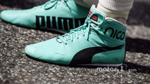 Racing boots of Nico Rosberg, Mercedes AMG F1