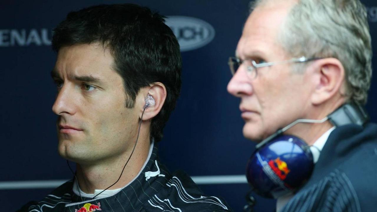 Mark Webber (AUS), Red Bull Racing and Helmut Marko (AUT), Red Bull Racing, Red Bull Advisor, Brazilian Grand Prix, 19.10.2007 Sao Paulo, Brazil