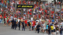 Fans invade the circuit at the end of the race