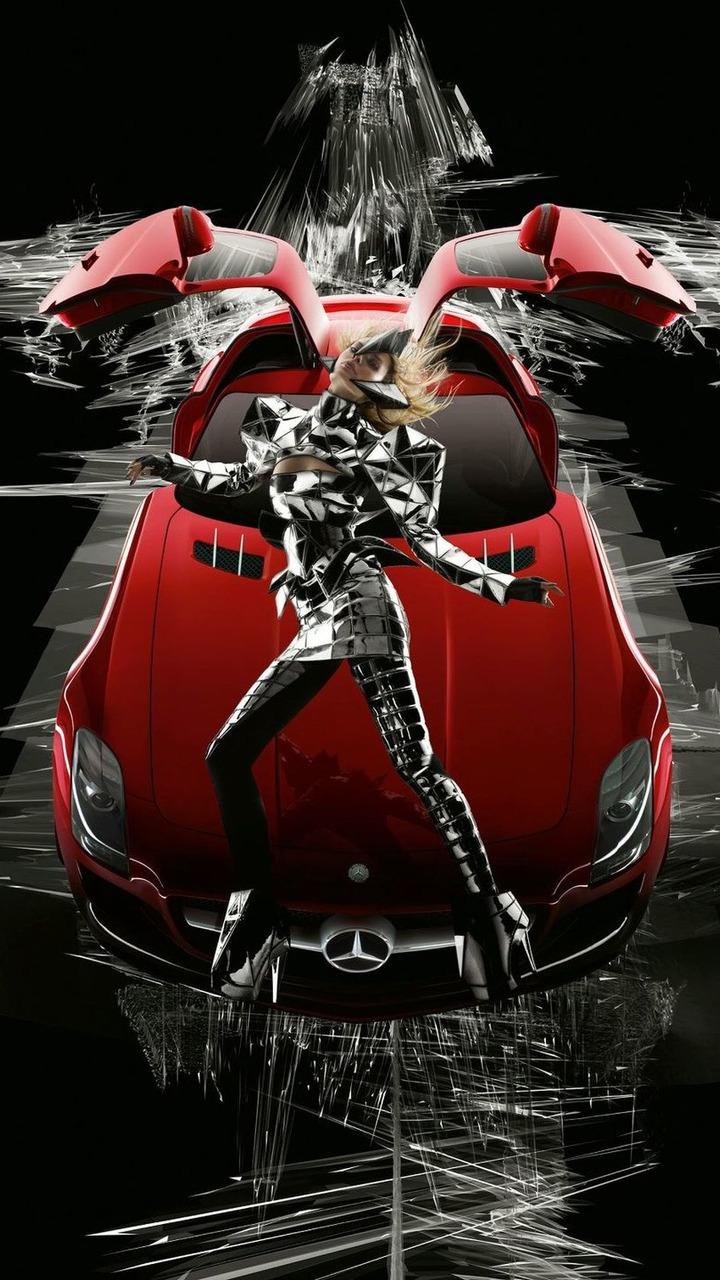 Mercedes SLS AMG Campaign by Nick Knight and Gareth Pugh, model Julia Stegner