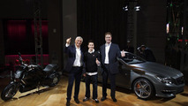 AMG Ducati: Ola Källenius, CEO of Mercedes-AMG GmbH, Gabriele del Torchio, President CEO of Ducati Motor, and Nicky Hayden of Ducati MotoGP Team, presenting the new Mercedes-Benz CLS63 AMG and Ducati Diavel 17.11.2010