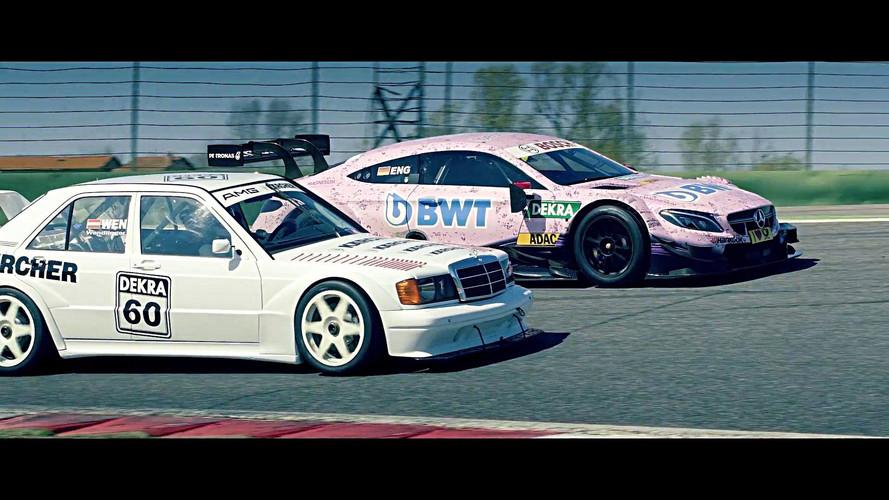 Duelo entre un Mercedes-Benz 190E y un C63 AMG, ambos del DTM