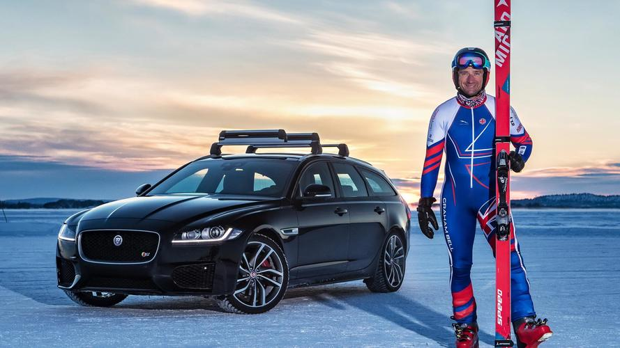 Skier pulled at 117mph by Jaguar XF Sportbrake