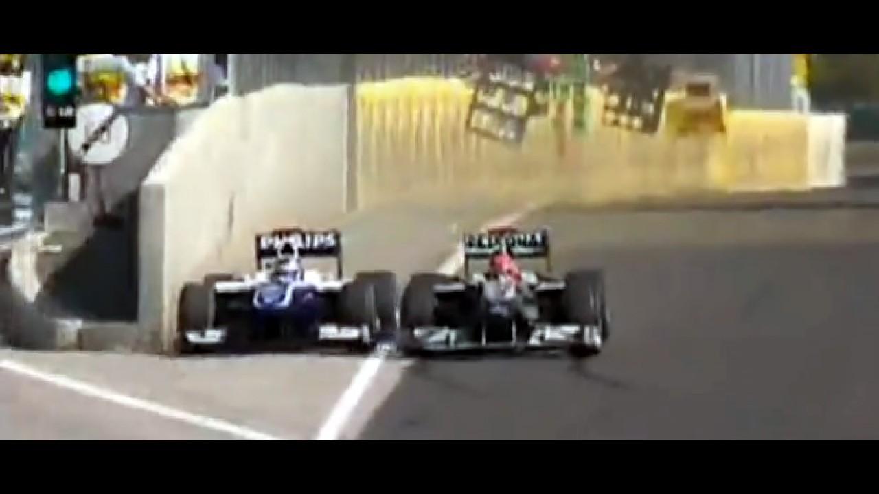 Fórmula 1: Bela ultrapassagem de Barrichello em Schumacher no GP da Hungria 2010