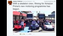 Clarkson, Hammond e may, i tweet dal set di Amazon