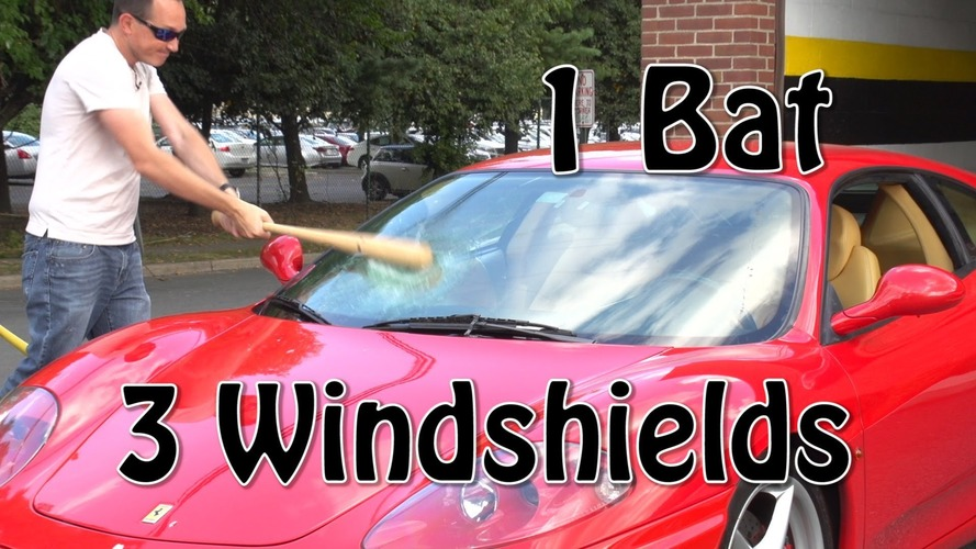Ferrari windshield smashing gag goes badly wrong