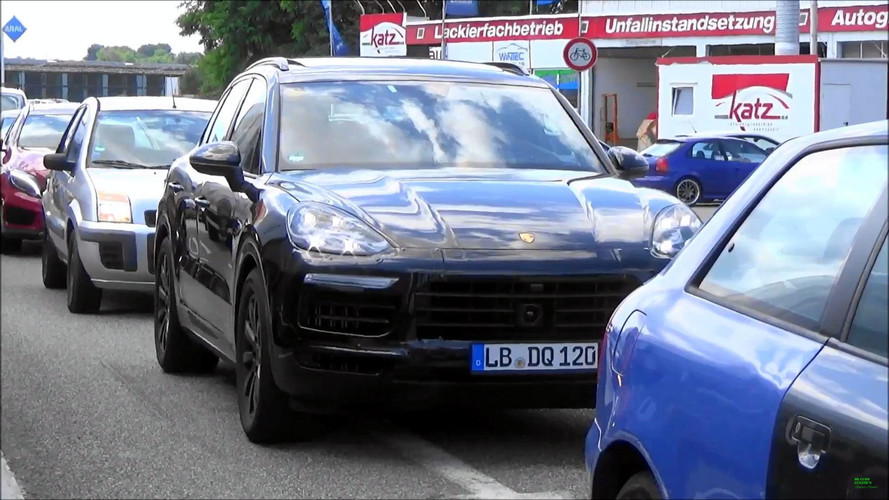 2018 Porsche Cayenne Spied With Light Camo On Public Roads