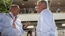 (L to R)- Ron Dennis, McLaren Executive Chairman with Chase Carey, Formula One Group Chairman