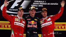 Max Verstappen, Red Bull Racing, Kimi Raikkonen, Scuderia Ferrari and Sebastian Vettel, Scuderia Ferrari celebrate