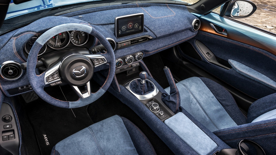 Mazda MX-5 gets reupholstered in denim by Garage Italia Customs
