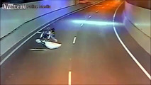 Motorcycle hits mattress