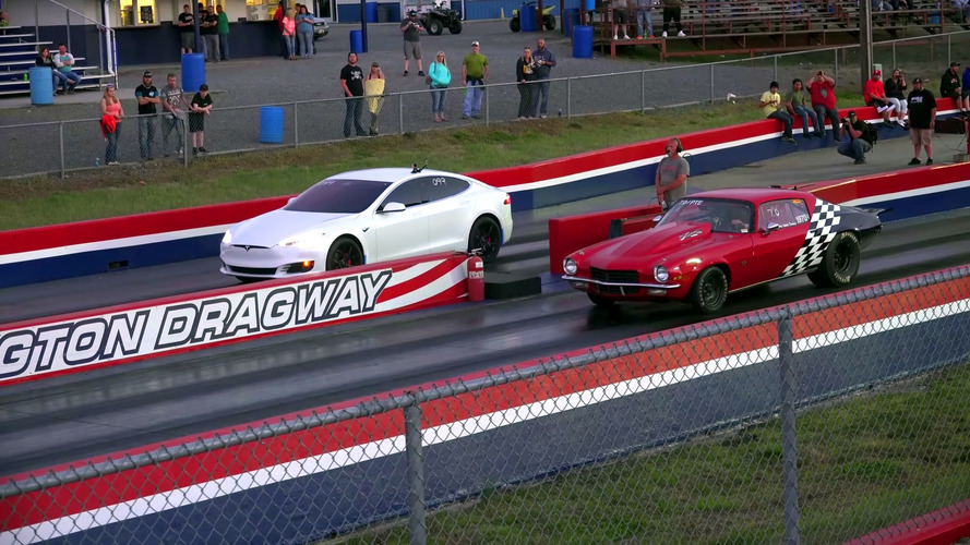 Stripped Tesla Model S P100D Takes On Drag Cars