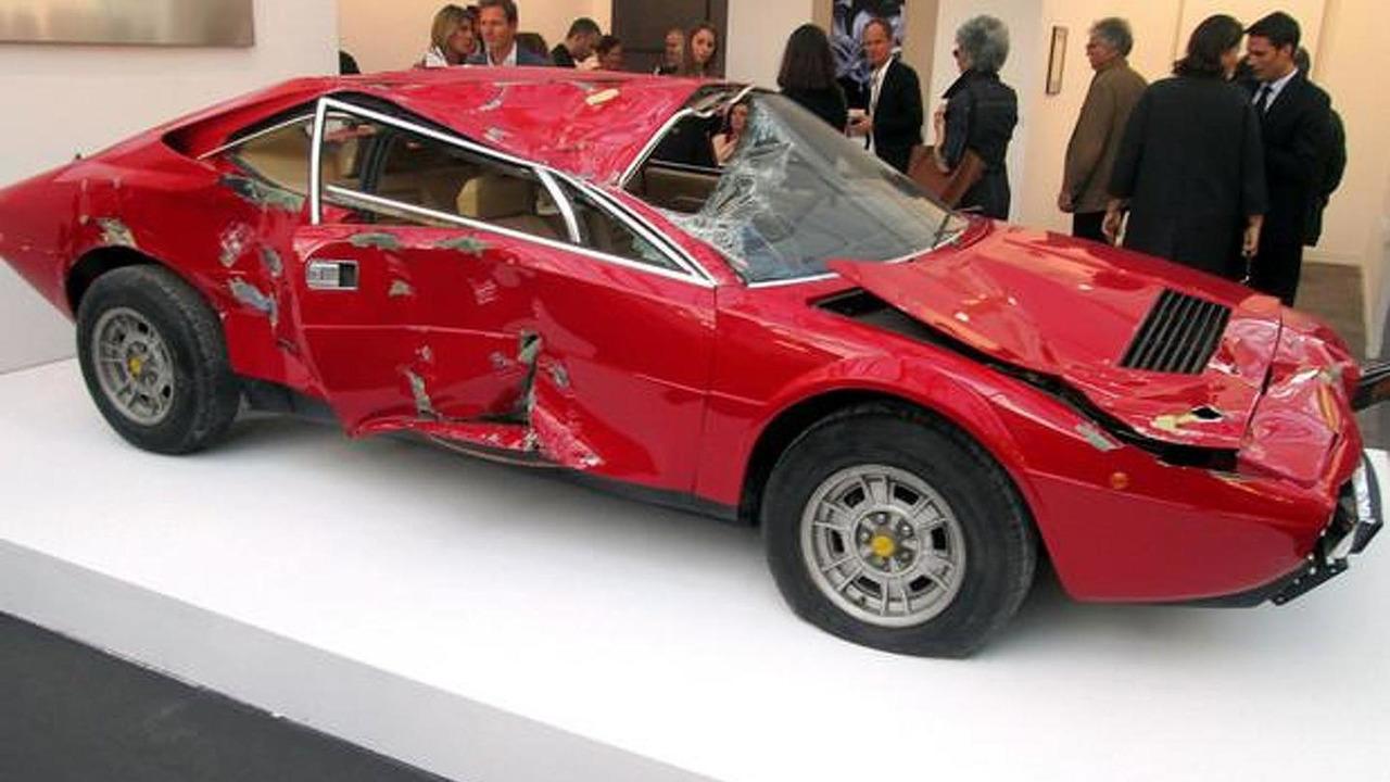 Wrecked Ferrari Dino exhibited as art 06.11.2013